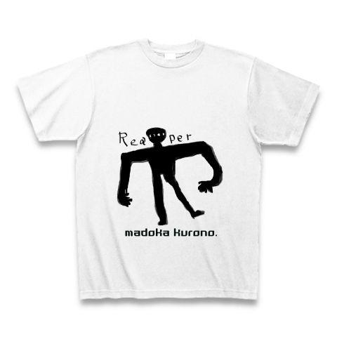 まどかオリジナルモンスターシリーズ 死神 Tシャツ(ホワイト):実際に、知人が見たという死神をモデルに描きました。身に付けた後何が起きても責任はとれません。ブラックも大丈夫な予感。まどかオリジナルロゴ入り。。。まどかオリジナル。byまどかオリジナル:手書きのイラストを描きます。