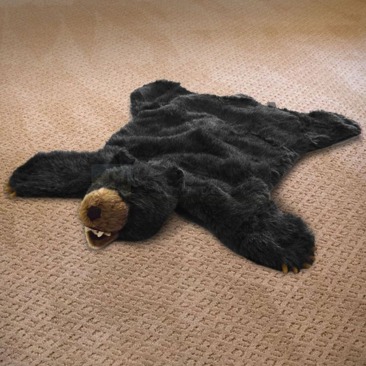 36in Black Bear Plush Faux Animal Skin Rug