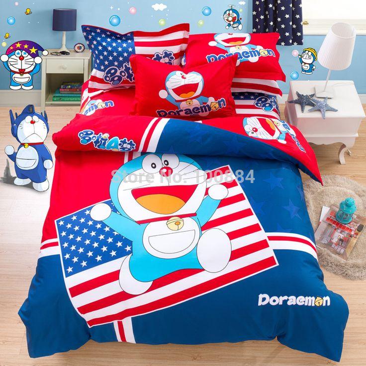 Американский флаг мультфильм наборы постельных принадлежностей, чехол для матраса тип дети постельные принадлежности, 100% Хлопок Doraemon печати американский флаг постельные принадлежности одеяло крышка