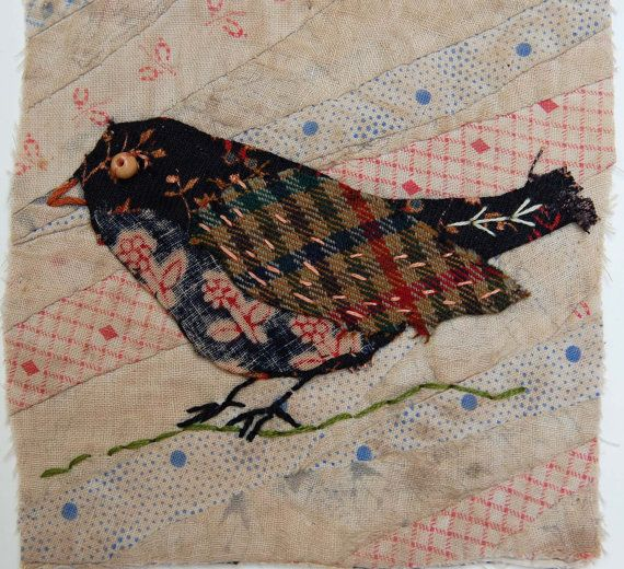 Unframed appliqued bird with embroidery on to by MandyPattullo, £20.00