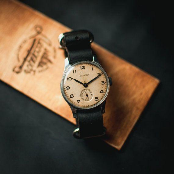 Watches for men, soviet Pobeda watch, men's vintage watch, mechanical wristwatch, 50s watches, womens watch, ladies watch