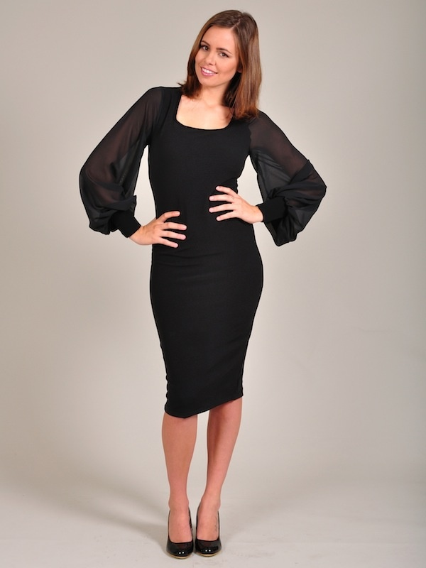 Diligo chiffon sleeve body con dress | www.diligo.co.za