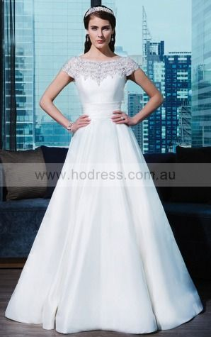 Ball Gown Scoop Natural Cap Sleeves Floor-length Wedding Dresses was0197--Hodress
