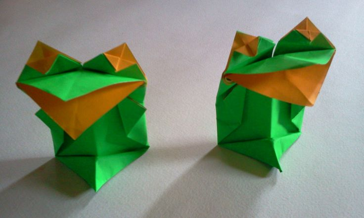 origami frog see this video on youtube link http://youtu.be/1SCsmxWPowg