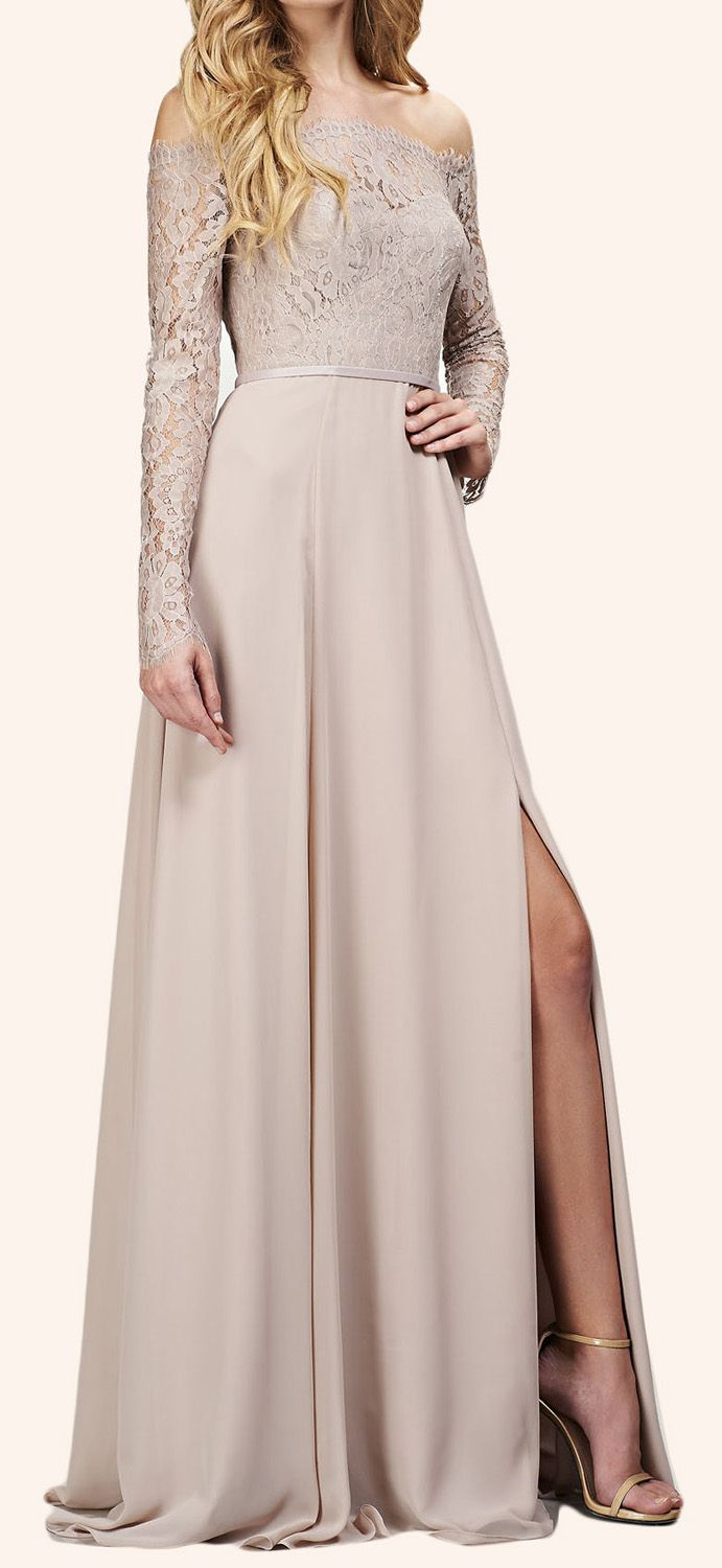 Off the Shoulder Long Sleeves Maxi Bridesmaid Dress Evening Formal Gown #dress #gown #bridesmaid #wedding #prom #prom2017 #promdress #promgown #eveningdress #eveninggown #formaldress #formalgown