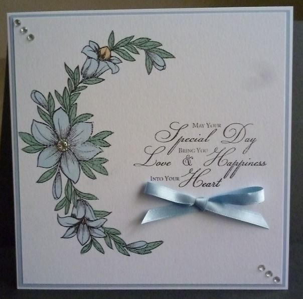 Card made using Honeydoo flower stamp and Inkylicious sentiment stamp