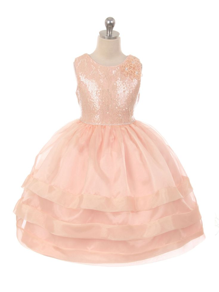 girls dress style 1036 satin and organza dress with sequin bodice in choice of color