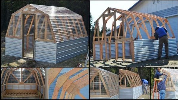 """Greenhouses have different sizes and shapes. The greenhouse I am going to talk about today is called the barn style greenhouse. To build this greenhouse you need: 3 - 2x4 @ 10 feet long - use on back wall, 5 - 2x4 @ 12 feet long - use on sides/ridgepole do not cut), 32 - 2x4 @ 8 feet long, 11 - 12 foot long x 26"""" wide standard corrugated plastic greenhouse panels, 1 - 8 foot long x 26"""" wide standard corrugated plastic greenhouse panel (use on door side), 3 - 12 foot long tin panels (use on…"""