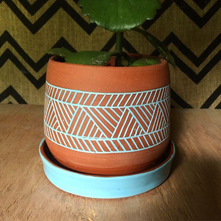 Ceramic Planter - Terracotta Plant Pot - Carved Geometric Pattern Planter - Modern - Ethnic - Tribal - Minimal - Boho by PotterybyOsa on Etsy https://www.etsy.com/listing/235453263/ceramic-planter-terracotta-plant-pot