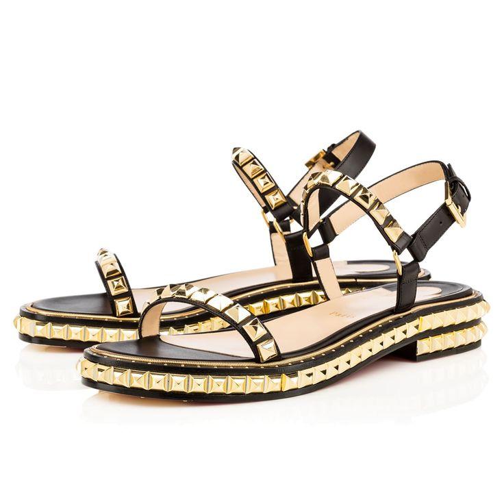 CHRISTIAN LOUBOUTIN Athossita Calf, Black/Gold, Calf, Women Shoes, Louboutin .