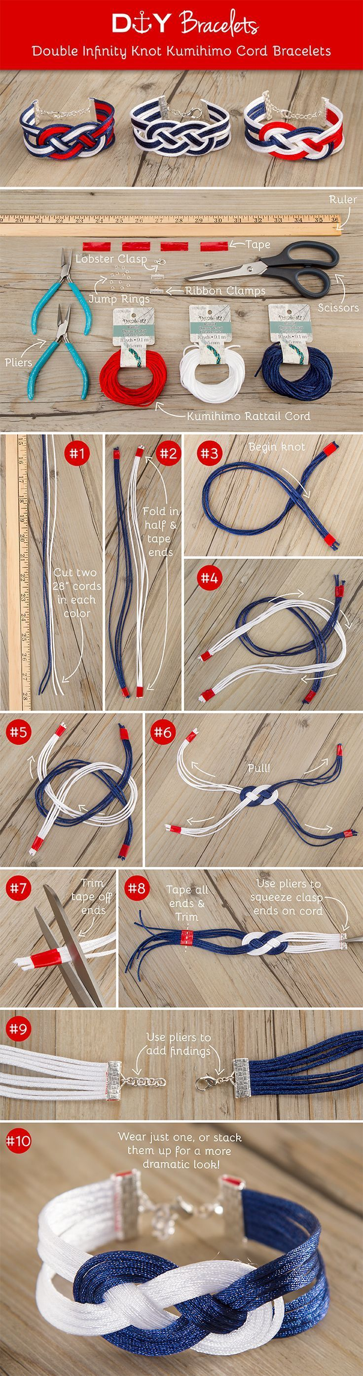Tutorial DIY Bijoux et Accessoires Image Description DIY Double Infinity Knot Kumihimo Cord Bracelets. Supplies available at your local (bead store)!Michaels store(not local)!