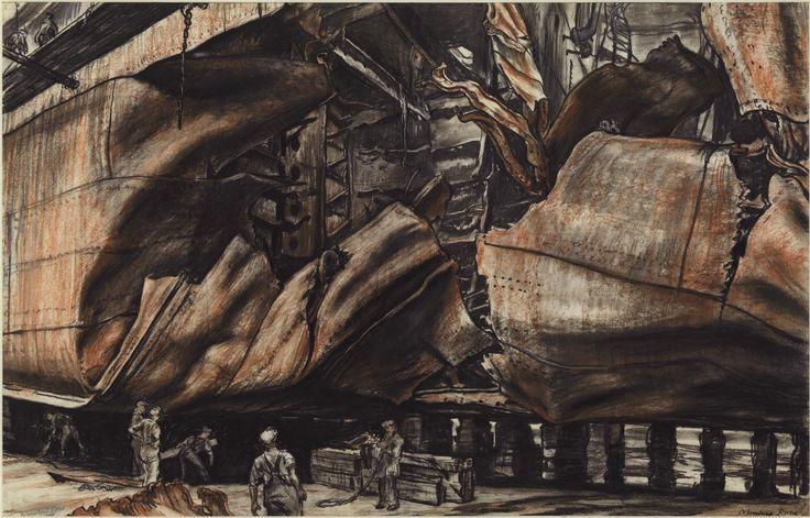 Sir Muirhead Bone 'Torpedoed Oil Tanker', 1940 Charcoal chalk ink and watercolour on paper
