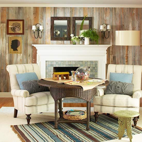 Accent WallTo give the fireplace wall presence, it was clad in salvaged wood, which gives the room rustic character, a trait that is followed through in the accessories and furnishings.