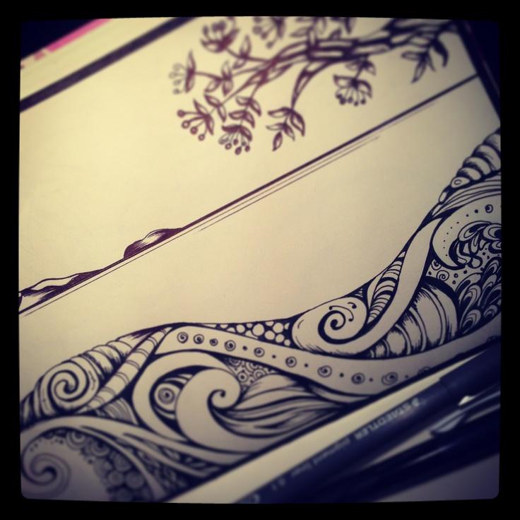 Sea and Pohutakawa doodles