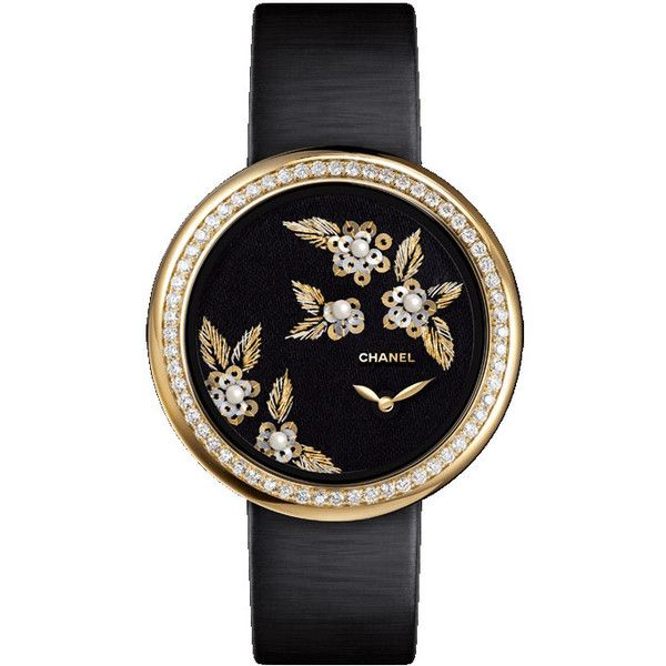 Chanel Mademoiselle Prive Camelia Lesage Ladies Watch ($26,250) ❤ liked on Polyvore featuring jewelry, watches, quartz movement watches, buckle jewelry, chanel, pearl jewellery and water resistant watches