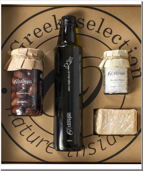 Geschenkbox Threpsi - Greek Selection - Natives Olivenöl Extra  - Kalamata Oliven - Meersalzflocken - Traditionel Handgefertigte Olivenölseife
