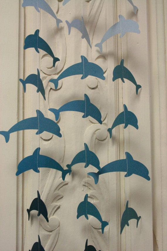 Dolphin Garland. Teal / Blue 12 Hanging Dolphins, Paper Garland, Birthday Party Garland   www.TheShabbyScrapper.etsy.com