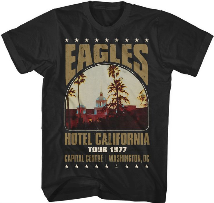This Eagles concert tshirt is from the Southern California classic rock n roll band's Washington, D.C. performance at the Capital Centre during their 1977 Hotel California tour. Our men's vintage tee is made from 100% black cotton.  #RockerRags ♫