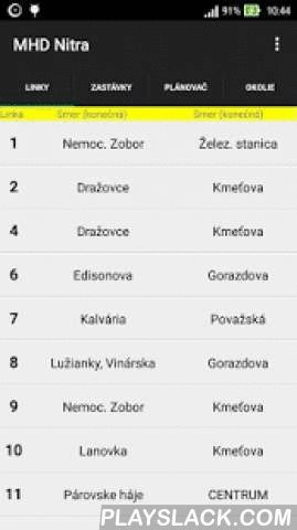 "MHD Nitra Slovakia  Android App - playslack.com ,  Timetables of public transport in city of Nitra, Slovakia. The application requires no internet access so the information you search is displayed without delay and wherever you need it. The app allows you to select either a route from the list of all routes or you can first select a bus stop which are grouped by city district.The acronym MHD stands for ""mestská hromadná doprava"" which means public transport."