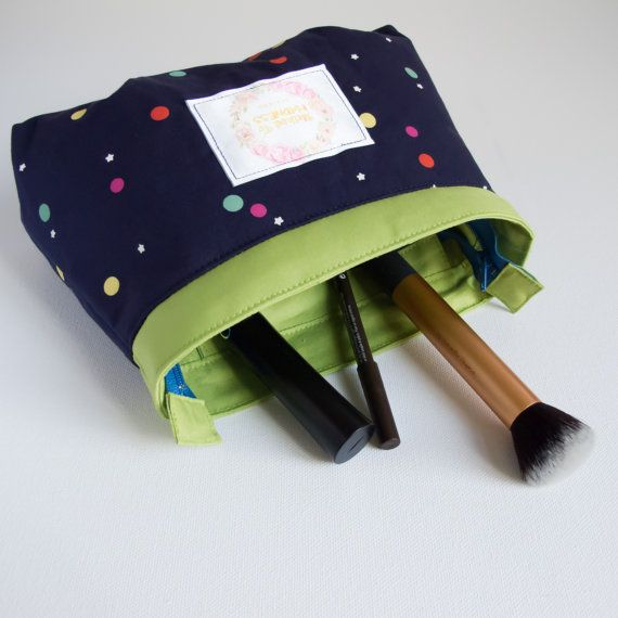 Confetti blue dot stars and lime green Makeup Bag organic cotton fabric - travel cosmetic pouch with compartments