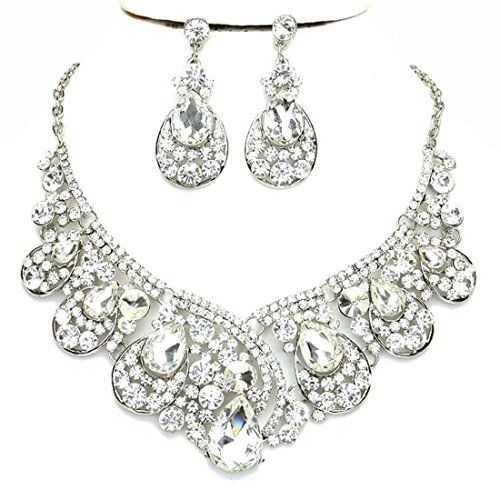 Affordable Clear Crystal Statement Silver Chain Necklace Earrings Set Wedding Bridal Pageant Jewelry