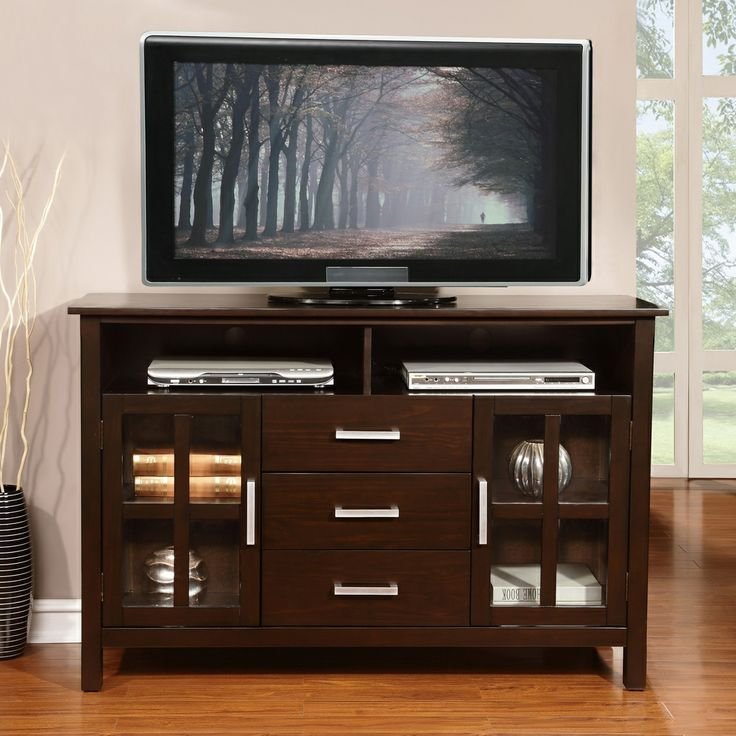 Waterloo Walnut Brown Tall TV Media Stand | Overstock.com Shopping   Great  Deals On