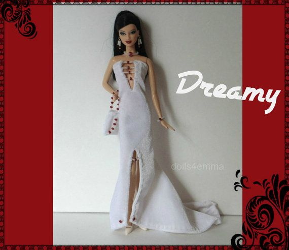 OOAK Model Muse Barbie Doll kleding - Hand-Beaded Gown, portemonnee en sieraden Set - aangepaste Fashion - door dolls4emma