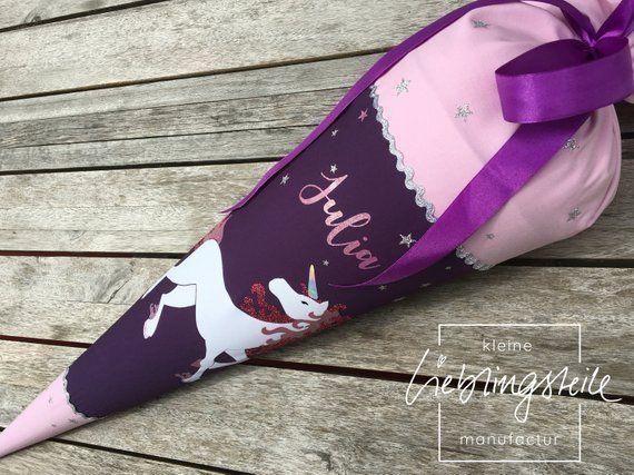 Handgefertigte Schultute Aus Stoff Motiv Einhorn Step By Step Etsy Student Bag School Bags Handmade