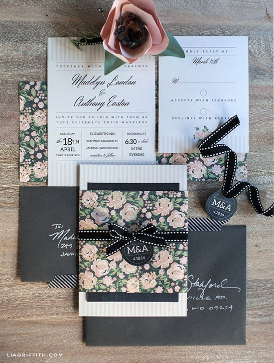 Printable Vintage Wedding Invitation Set in Blush & Charcoal - Lia Griffith