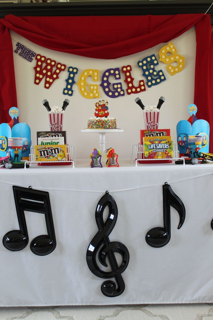 "Large marquee lettering and musical symbols are the perfect party decorations for a rockin' and rollin' Wiggles Party. Play music by The Wiggles to get party guests in the mood to shout, ""Wahoo!"" (Credit: Jenny)"