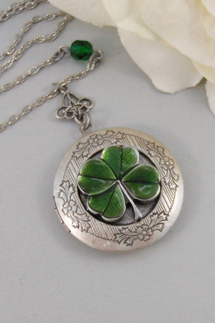 Green lucky shamrock necklace four leaf clover charm emerald green - Irish Girl Locket Shamrock Antique Locket Silver By Valley Girl Designs
