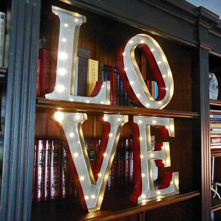 marquee led light metal love sign industrial letters battery operated 135 in