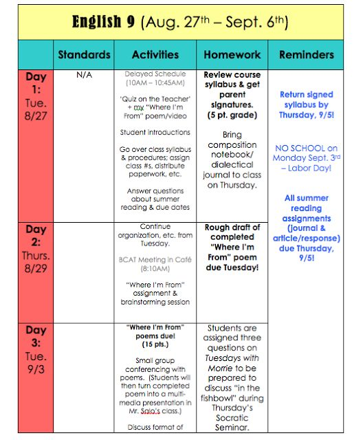 Best Block Schedules Images On   Block Scheduling