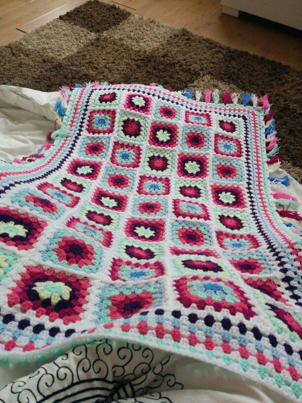 Crochet granny square blanket with the request of tassels from my niece