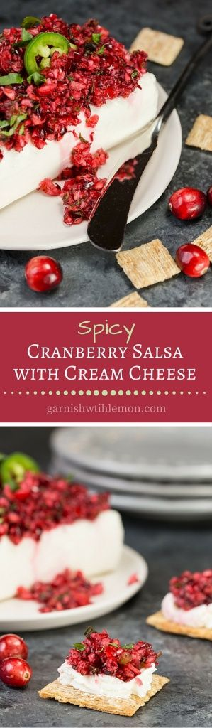 This Spicy Cranberry Salsa is a delightful spin on your traditional cream cheese and pepper jelly. It combines tangy fresh cranberries with spicy jalapenos. An irresistible addition to your holiday spread. ~ http://www.garnishwithlemon.com