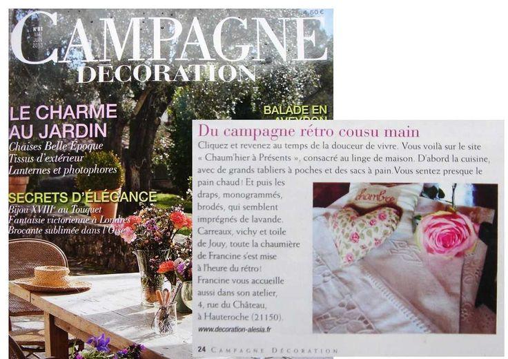 """La Chaum'hier à Présents dans le magazine national Campagne Décoration n°81 mai-juin 2013. """"Boutique de charme au style indémodable..."""""""