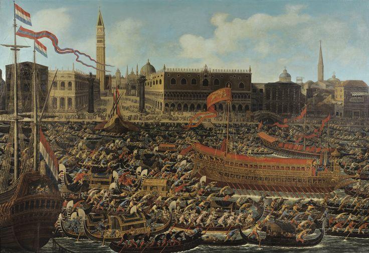 Matteo Stom le Jeune (Venise 1643 - 1702), Venise, le Molo et le bassin San Marco le jour de l'Ascencion. Signée en bas à droite sur une embarcation Matteo Stom Fecit. Huile sur toile. Porte une inscription au dos sur le châssis V. 43660, 114 x 165,5 cm