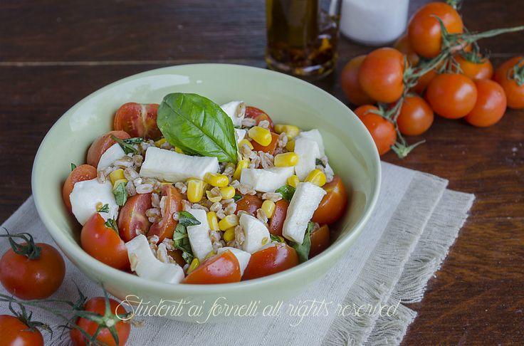 L'insalata di farro con pomodori e mozzarella è un primo piatto fresco ideale per l'estate. Pomodori, mozzarella e mais per un' insalata di farro sfiziosa..