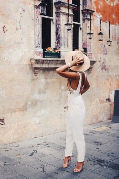 //Pinterest @esib123 // #stye #inspo  Tash Oakley in white jumpsuit