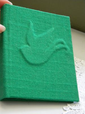 Paper to Thread: Bird Book Reveal!  Embossed book cover under linen book cloth.