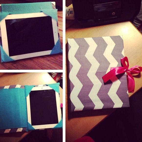 DIY iPad/Tablet case. Use hard back book cover, make sure the size of the book matches the size of the tablet. Detach pages from book cover. Glue fabric to front and inside of the cover. Lastly Glue 1 inch triangles to right side interior corners to hold tablet to cover. (Optional: use glue ribbon, elastic, clutch ect. to ends of covers, this helps prop up cover when standing up.)