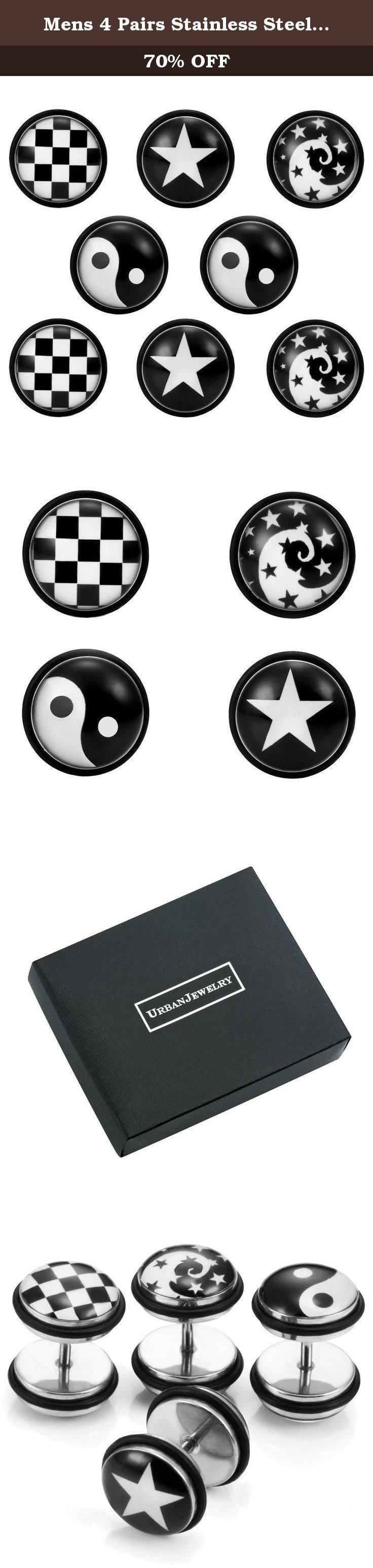 Mens 4 Pairs Stainless Steel Stud Earrings Set with Star, Swirl, Checkered and Yin & Yang Designs. Unisex Black and White Stainless Steel Stud Earrings Set - Includes 4 Pairs of Studs with Star, Swirl, Checkered and Yin & Yang Add a touch of personality to every outfit with the trendy jewelry designs featured in the Unisex Black and White Stainless Steel Stud Earrings Set. The earring set features styles that are truly on the pulse of the latest trends and that make fashionable choices…