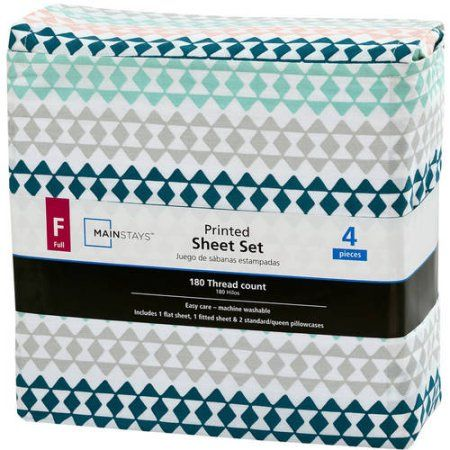Mainstays 180 Thread Count Sheet Set, Full, Geo Triangle, Multicolor
