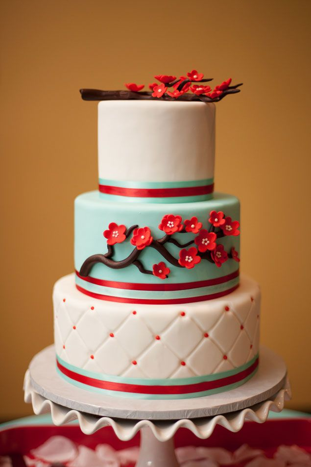 Red and Blue Wedding Cake - PHOTO SOURCE • TEKOA ROSE PHOTOGRAPHY | Featured on WedLoft