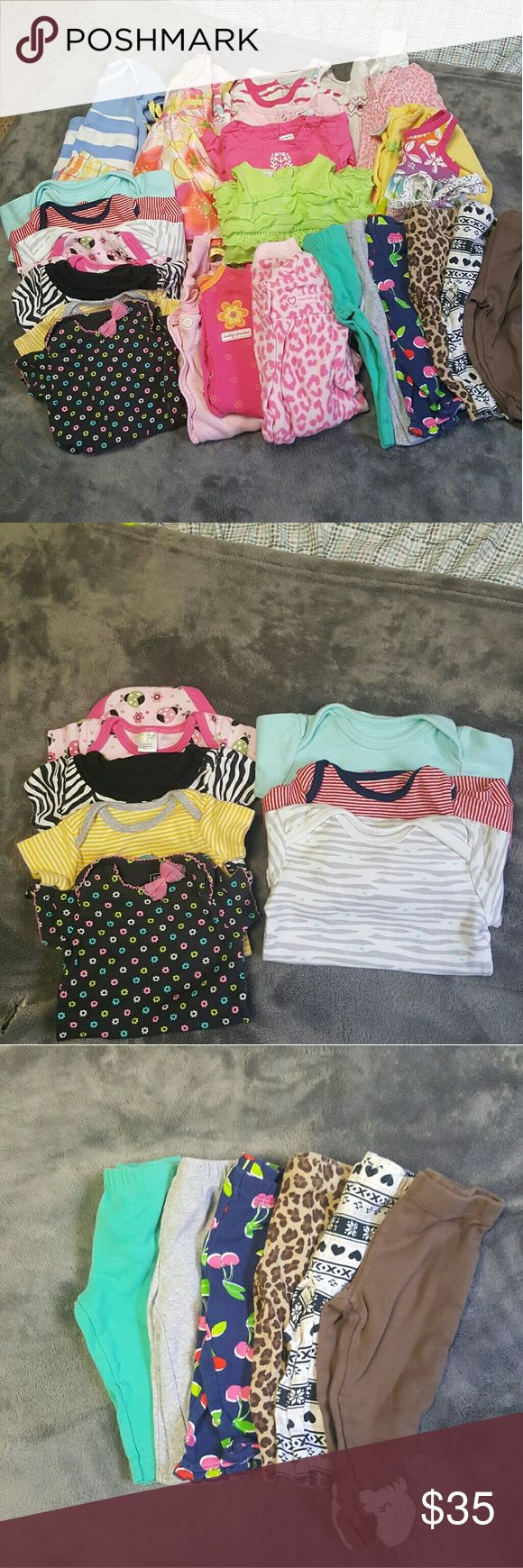 0-3 Months Baby Girls Lot Good condition. 30 Pieces!  Most are mix and match. Some are 0-3 months and others are 3 month's.  4 Short sleeve Onsies and 3 Long Sleeve Onsies(Pic 2) 6 Pants (Pic 3) 3 Full Onsies (Pic 4) 10 Tops (Pic 5) 1 Outfits, dress and skirt (Pic 6) Many different brands. Carter's One Pieces Bodysuits
