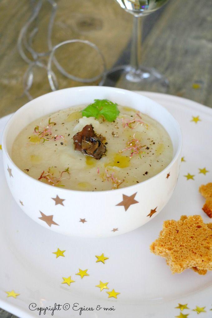 Crème de panais et topinambours à l'huile de truffes { Quinoa germé }