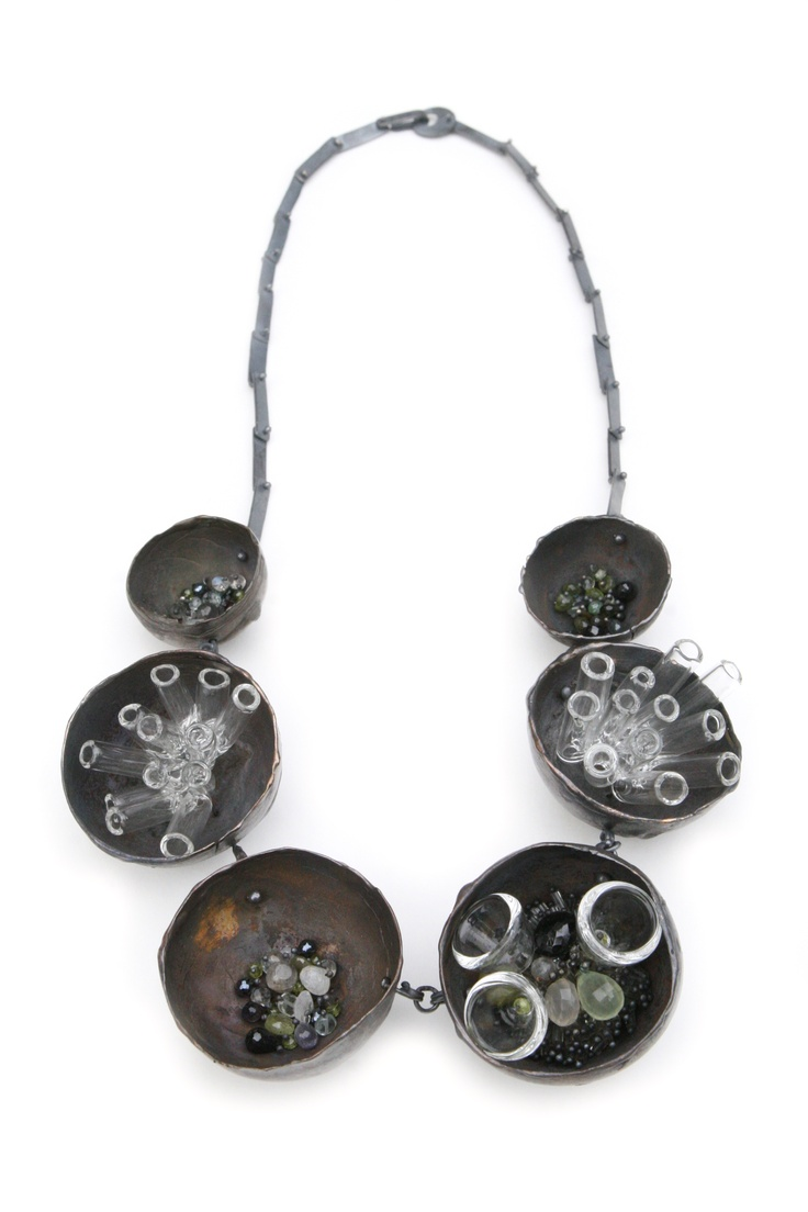 Karen Gilbert One-of-A-Kind necklace, borosilicate glass, stone beads, oxidized sterling silver. Gallery Lulo.