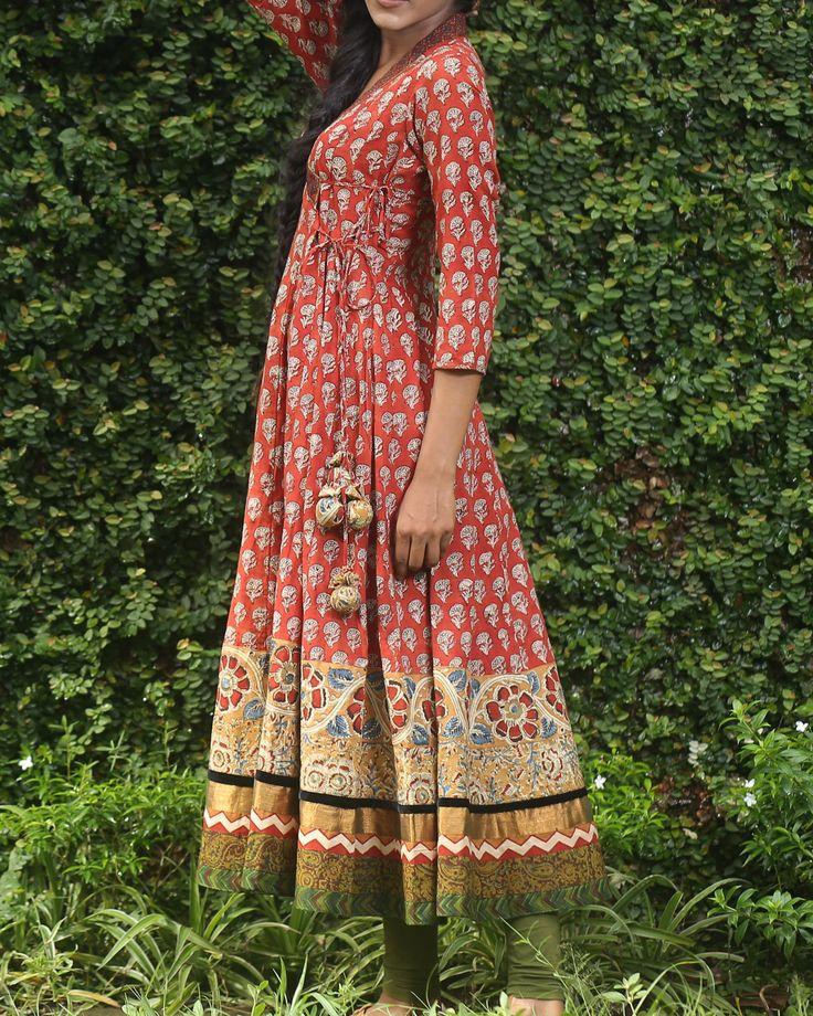 Rust block printed angrakha by Mantra | The Secret Label