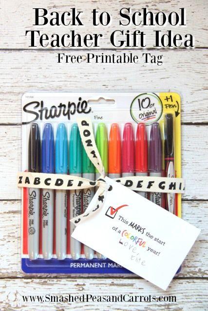 Back to School Sharpie Teacher Gift Idea and Free Printable // SmashedPeasandCarrots.com