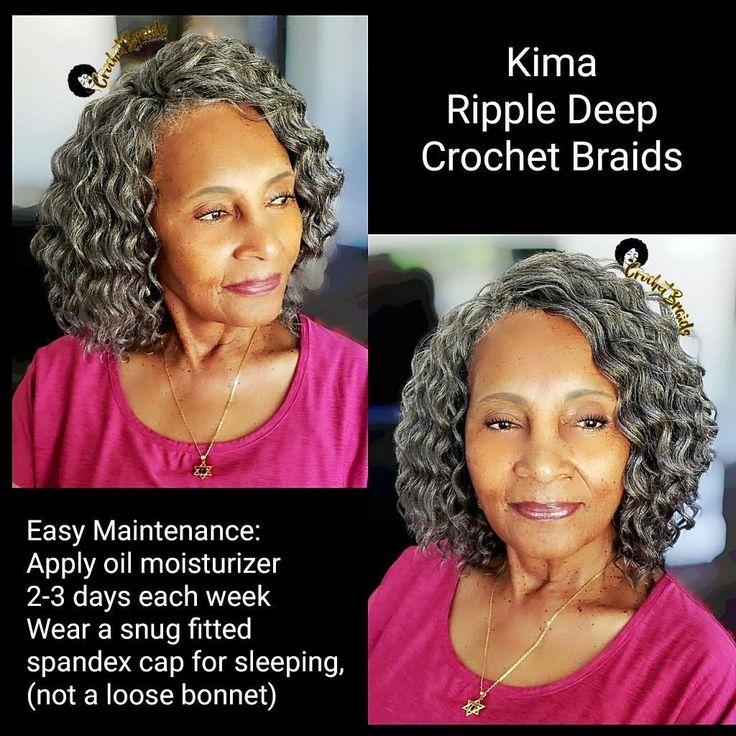 Grey Kima Ripple Deep Crochet Braids When Nana Looks
